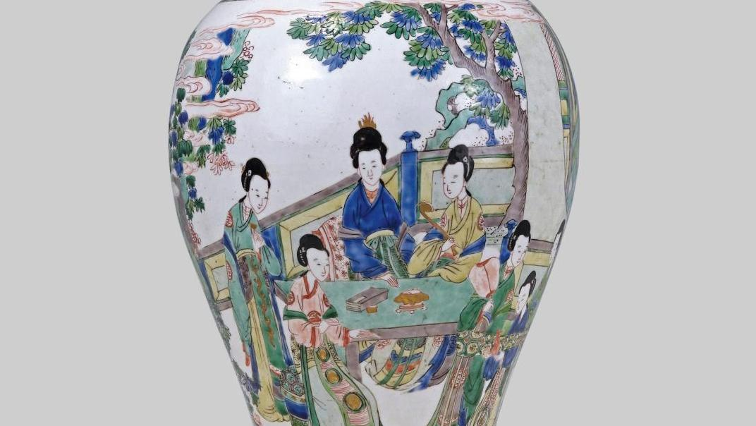 Details of a Chinese baluster vase in porcelain with polychrome enamel decoration, Kangxi period