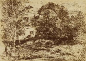 Estampe Jean-Baptiste Camille Corot