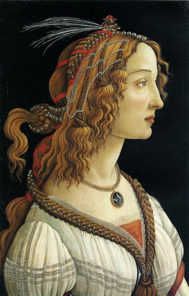 Portrait de  Simonetta Vespucci par Boticcelli, maîtresse de Julien de Médicis