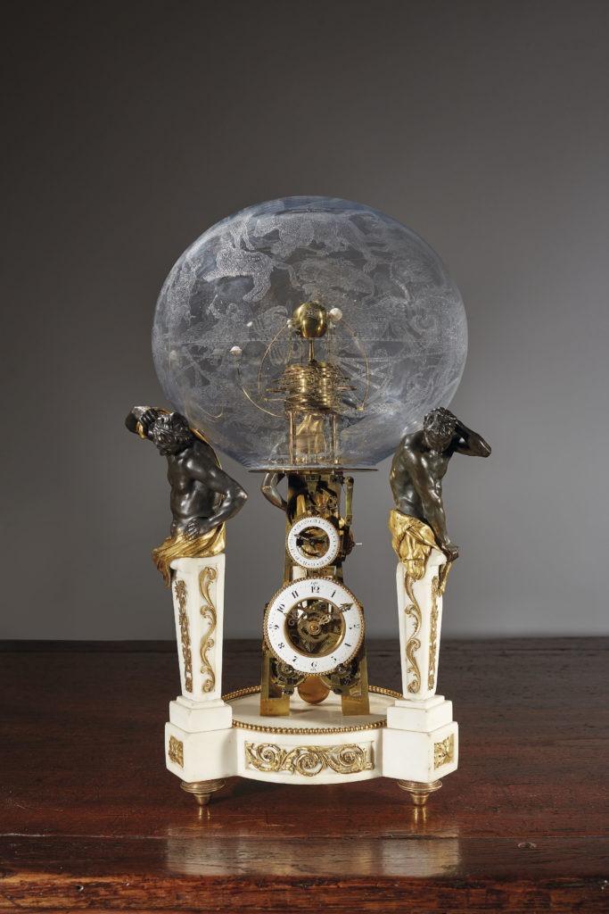 Pendule squelette à planétaire héliocentrique et quantième perpétuel d'époque Louis XVI