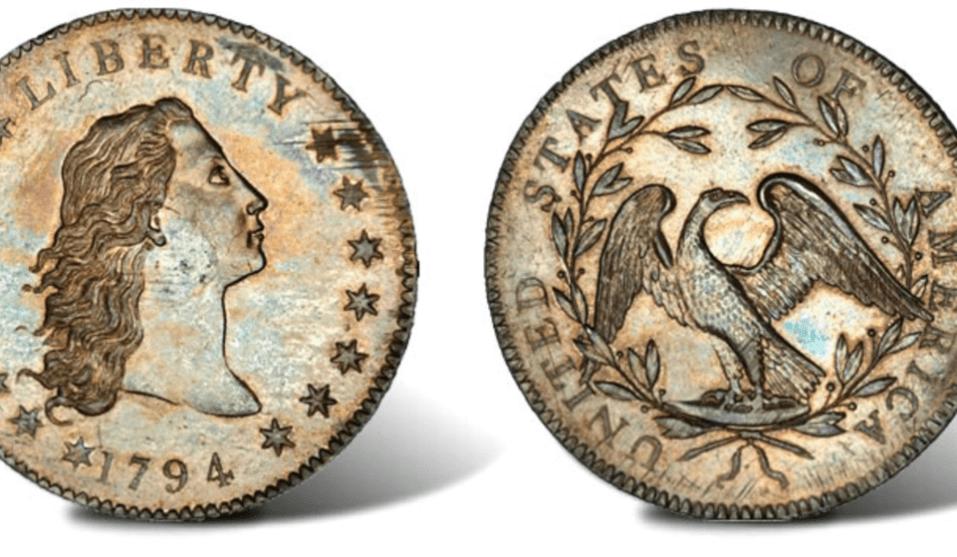 One Dollar 1794 Flowing Hair (Spécimen Green-Contursi-Cardinal), vendue à 8 506 000 €