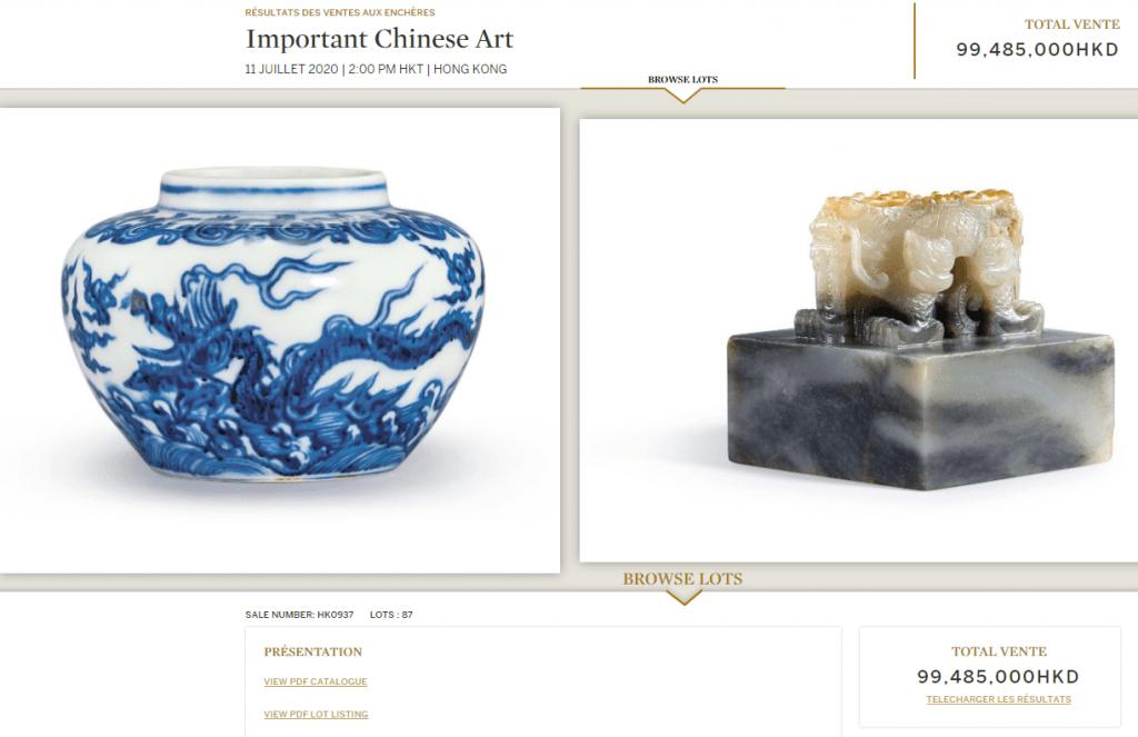 Exemple de résultat de vente chez Sotheby's, en ligne