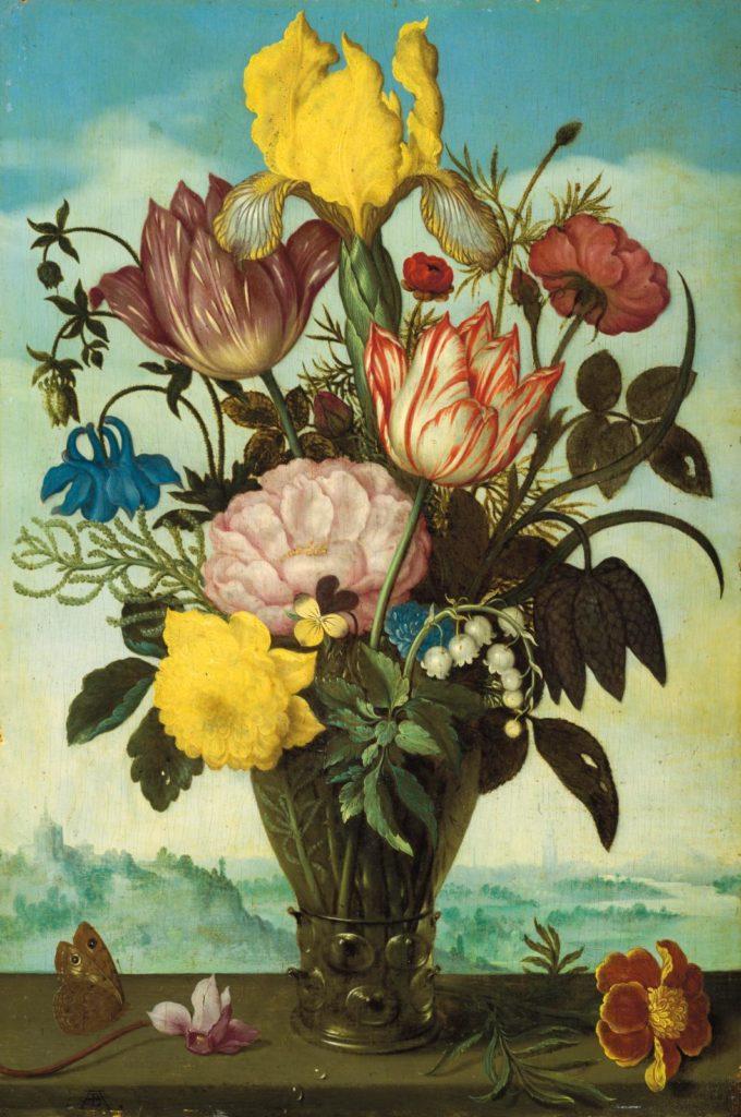Fleurs coupées dans un römer posé sur un entablement sur fond de paysage, Ambrosius Bosschaert le Vieux