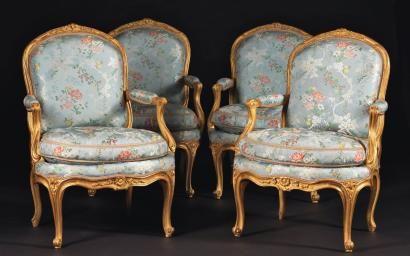 """Quatre fauteuils """"A la reine"""", de Jean Boucault"""