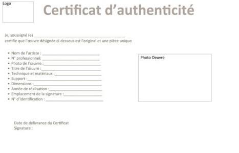 Exemple d'un certificat d'authenticité