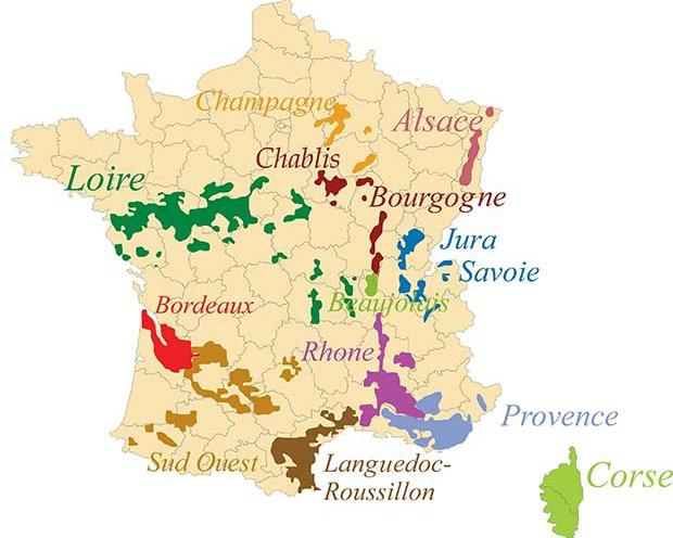 Carte des appellations des vins de France