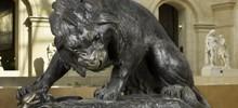 sculpture Lion au serpent