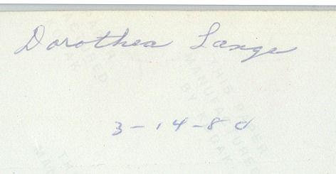 Signature Dorothea Lange