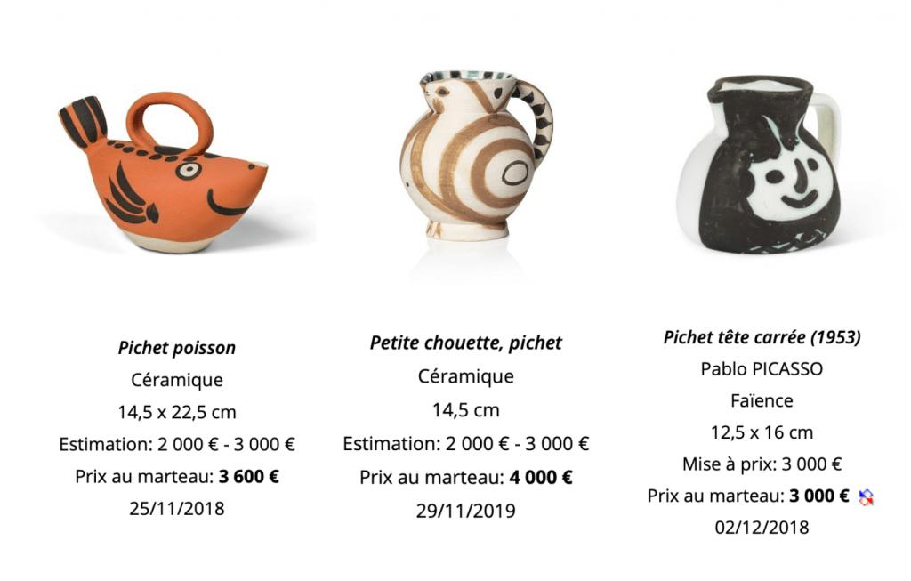 Estimation vente pichet Picasso Madoura céramique et faïence