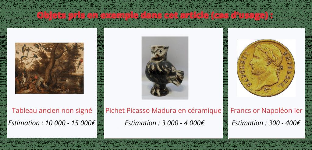 exemple objets estimation tableau ancien pichet Picasso francs or Napoléon
