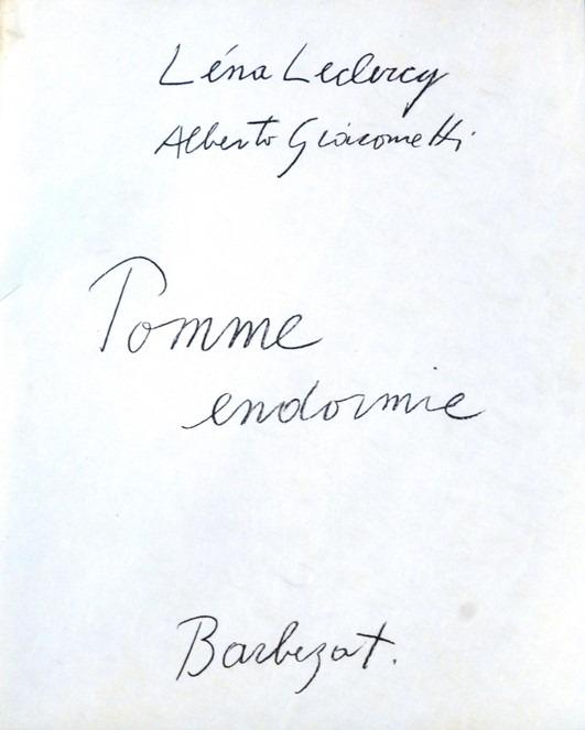 """Oeuvre """"Pomme endormie, 8 lithograpgie"""" de Giacometti et Leclercq Léna, 1961"""