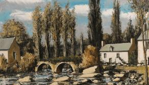 "Oeuvre ""Baud, le Pont de Baud et le moulin"" de Bernard Buffet, 1975"