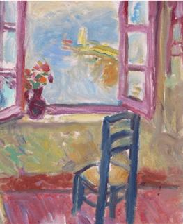 """Oeuvre """"Le pot de fleurs sur le rebord de la fenêtre"""" de Charles Camoin"""