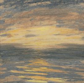 """Oeuvre """"Coucher de soleil sur la mer"""" de Claude Monet"""