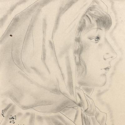 "Oeuvre ""Youki au foulard sur la tête de profil"" de Léonard Tsuguharu Foujita, 1927"