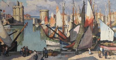 Large vue du port de La Rochelle animée de Gaston Balande, vers 1930