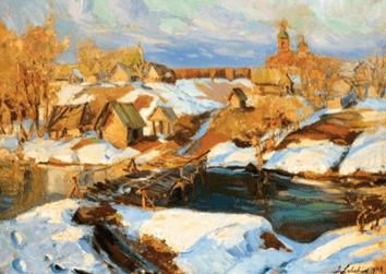 """Oeuvre """"Village sous la neige en Russie"""" de Georges Lapchine"""