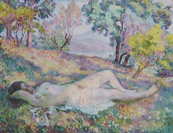"""Oeuvre """"La sieste à Saint-Tropez"""" d'Henri Lebasque, 1906"""