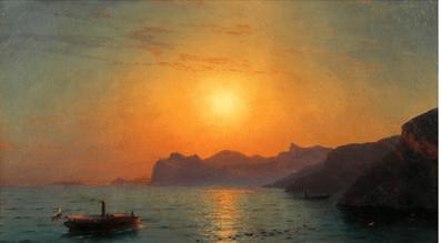"""Oeuvre """"Bateau vapeur russe secourant un navire en déperdition"""" d'Ivan Constantinovich Aivazovski, 1891"""
