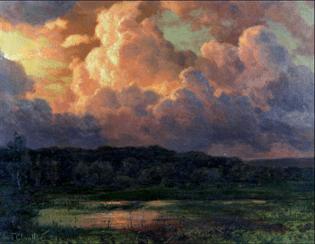 """Oeuvre """"Crépuscule sur l'étang"""" d'Ivan Federovitch Choultse, 1921"""