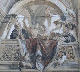 Oeuvre 'La tribune des musiciens dans une loggia' de Jacob Jordaens