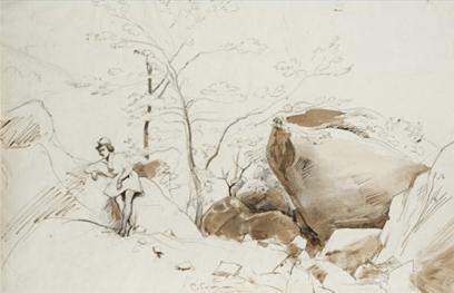 """Oeuvre """"Fontainebleau, personnage adossé à un rocher"""" de Jean-Baptiste Camille Corot, 1796-1875"""