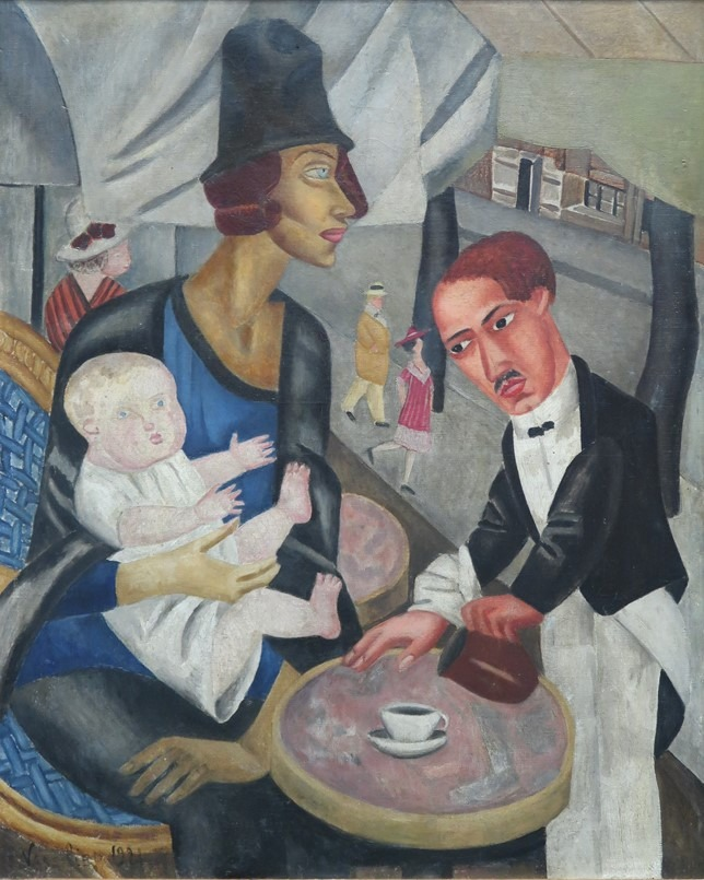 "Oeuvre ""Café de la Rotonde"" de Marie Vassilieff, 1921"