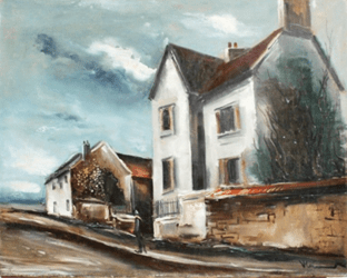 "Oeuvre ""Sortie de village la grande maison"" de Maurice De Vlaminck"