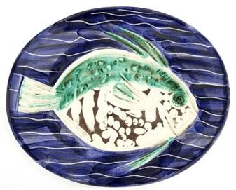 """Oeuvre """"Blue Fish"""" de Pablo Picasso et l'Atelier Madoura, 1953"""