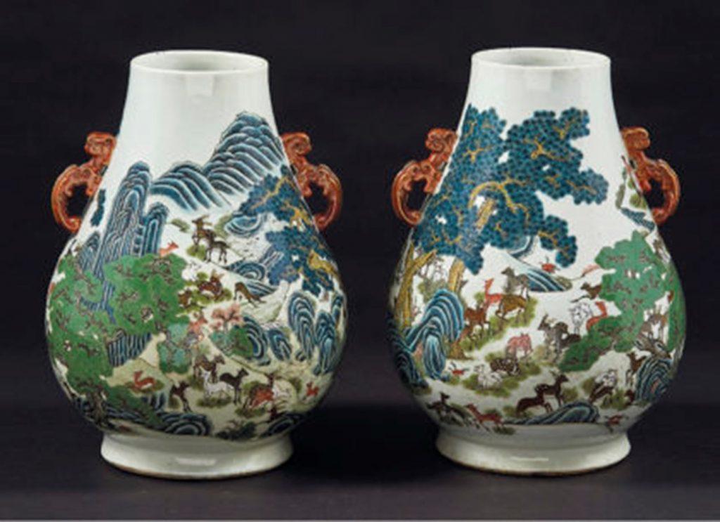 """Oeuvre """"paire de vases piriformes"""", Fin du XIXème siècle"""