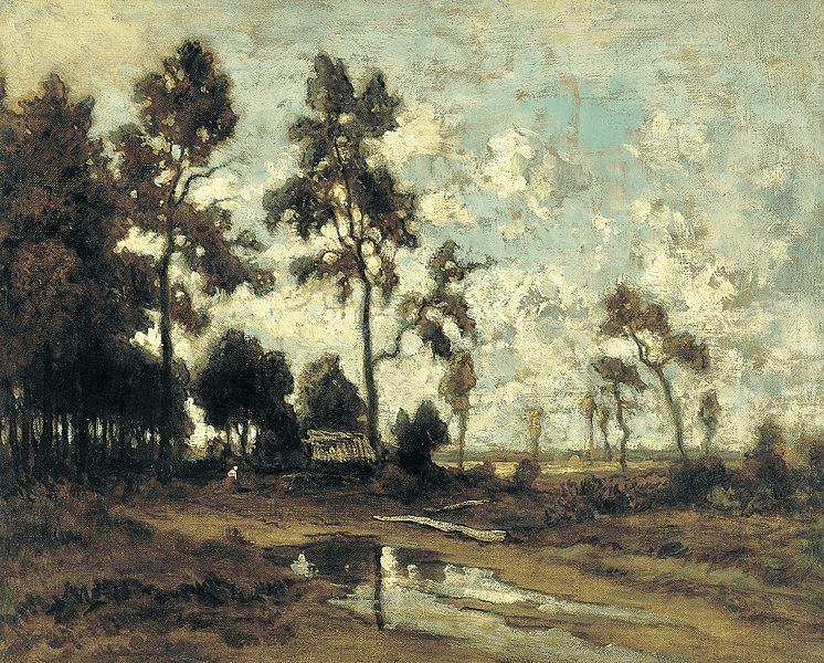 Thédore Rousseau, La cabane du charbon de bois dans la forêt de Fontainebleau