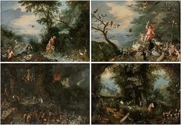 """Oeuvre """"Suite de quatre huiles sur toile"""" de Jan II Brueghel"""