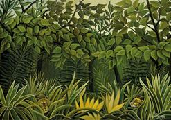 Toile Deux lions à l'affût dans la jungle d'Henri Rousseau