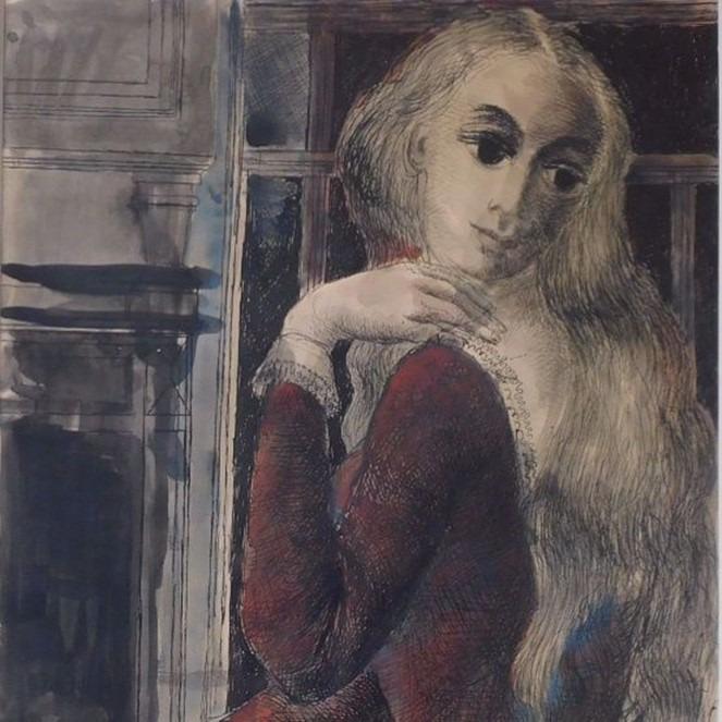 Jeune fille devant la cheminée de Paul Delvaux
