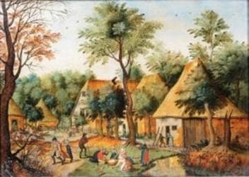 Oeuvre Le repas des paysans au village de Brueghel Pieter le Jeune